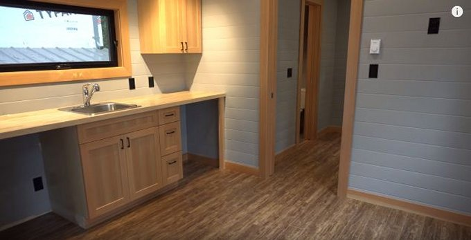 Wide tiny house interior