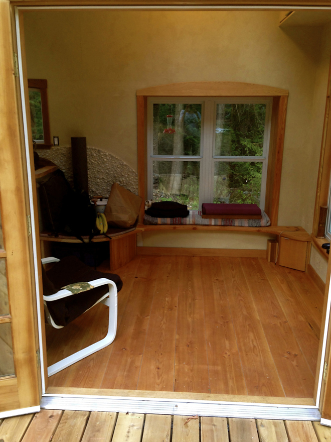 Hand built tiny house interior