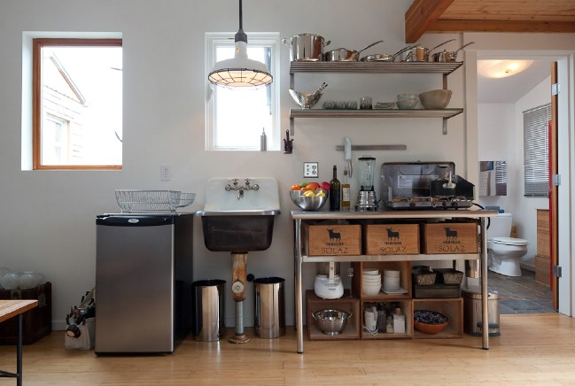 Garage tiny house interior