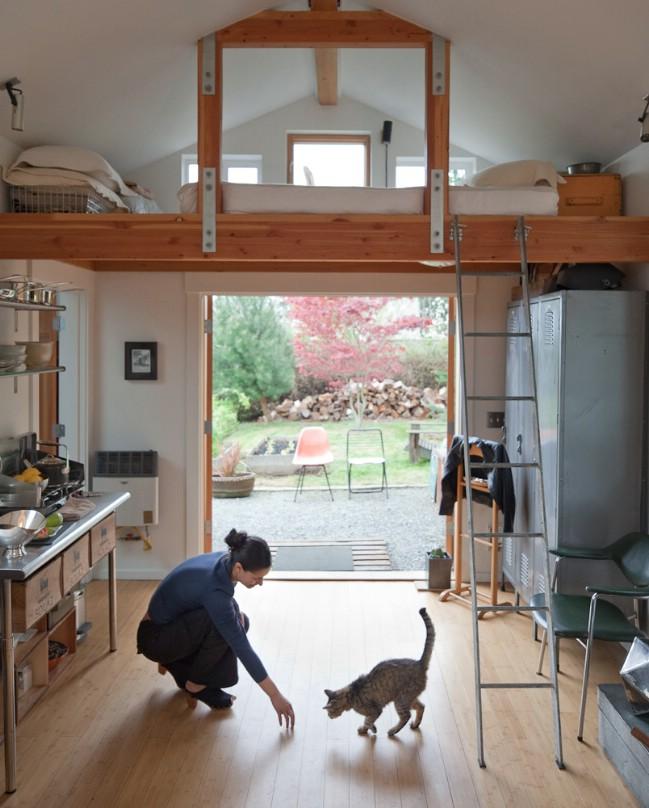 Garage tiny house interior
