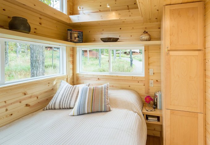 Elegant tiny house bedroom