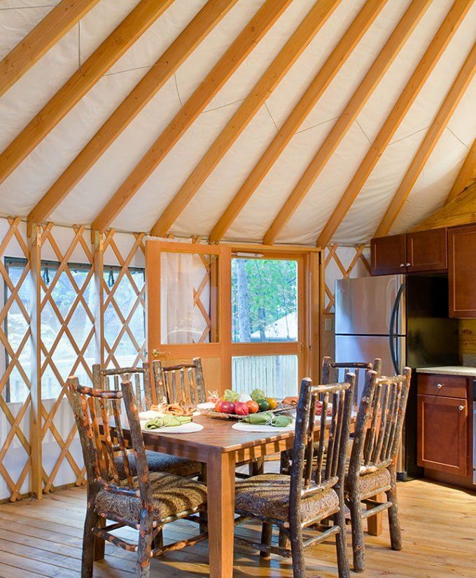 Tiny yurt cabin interior